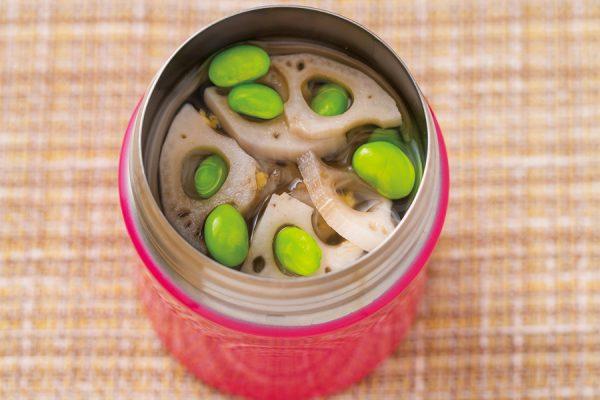 【スープジャー】れんこんと枝豆のしょうがスープ レシピ・作り方