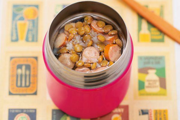 【スープジャー】レンズ豆とソーセージのスープ レシピ・作り方